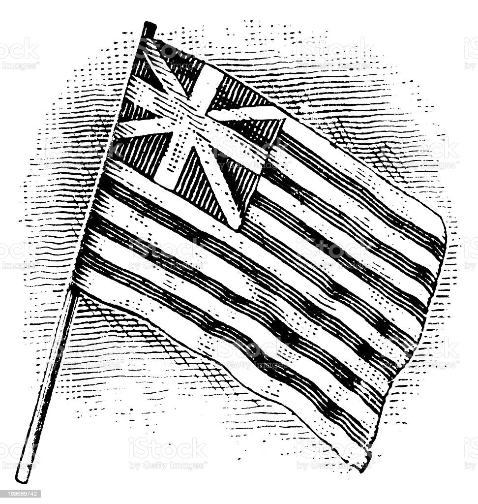 Grand Union Flag - Antique Engraving royalty-free stock vector art