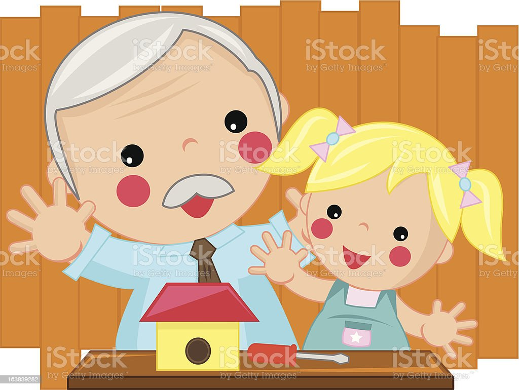 grandfather and girl royalty-free stock vector art