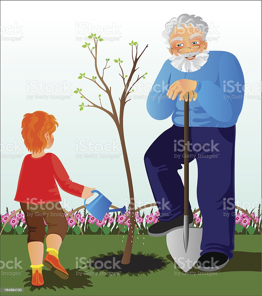 Grandfather and granddaughter royalty-free stock vector art