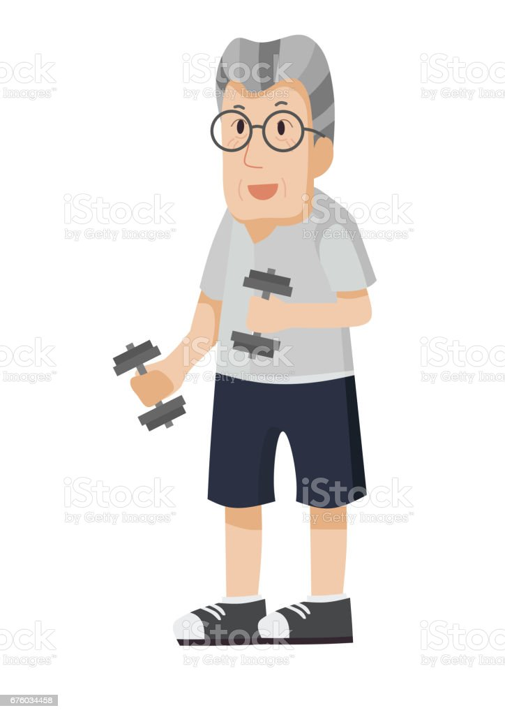 Grandfather character doing exercise. vector art illustration
