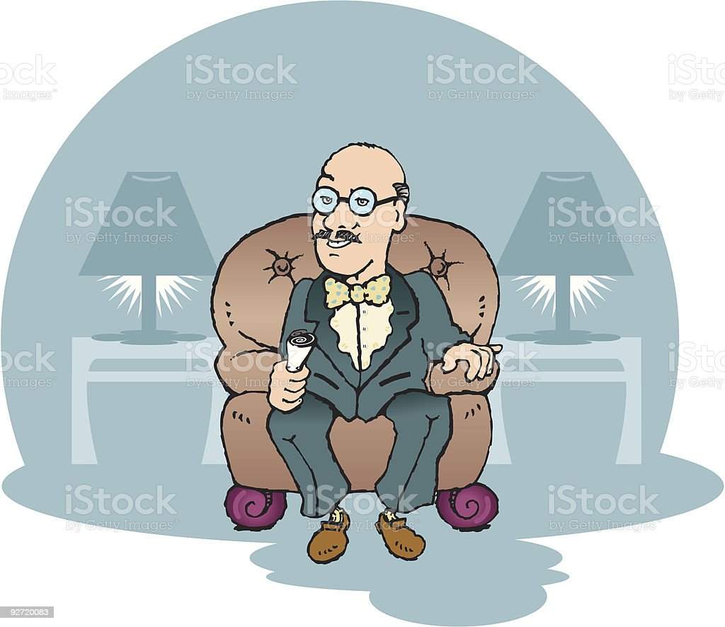 grandfather sitting in a leather chair vector art illustration