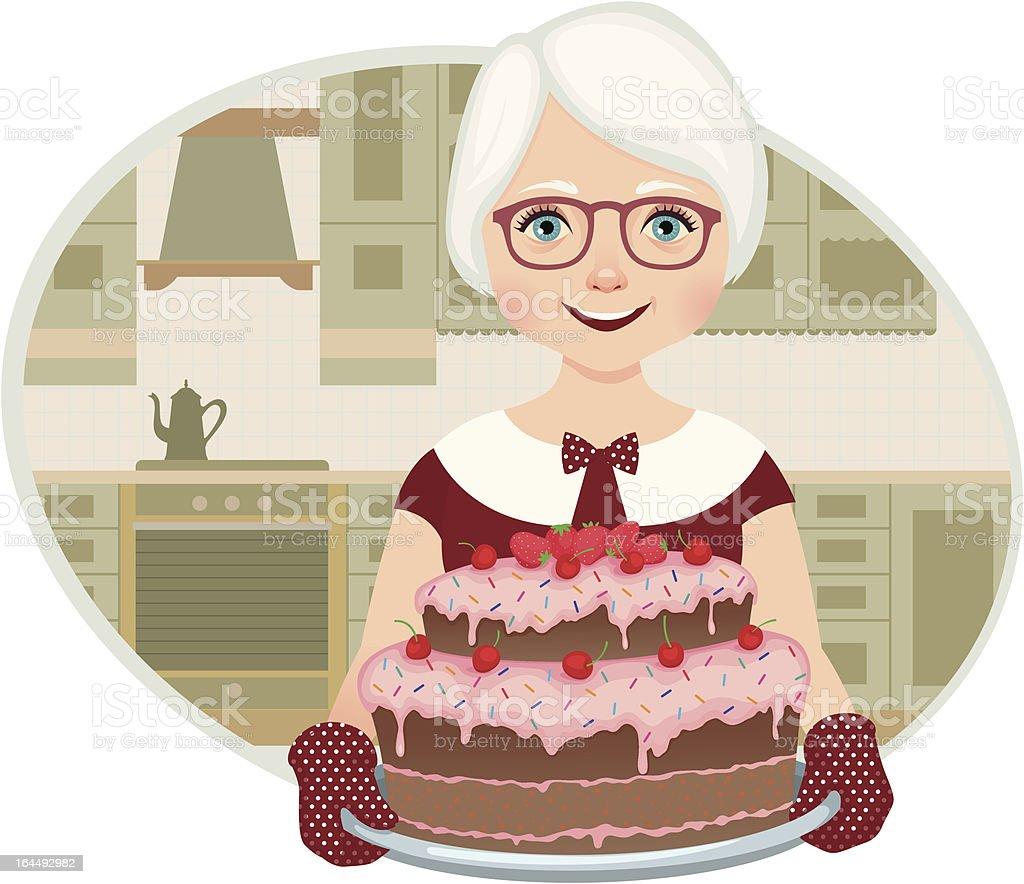 Grandmother baked a cake vector art illustration