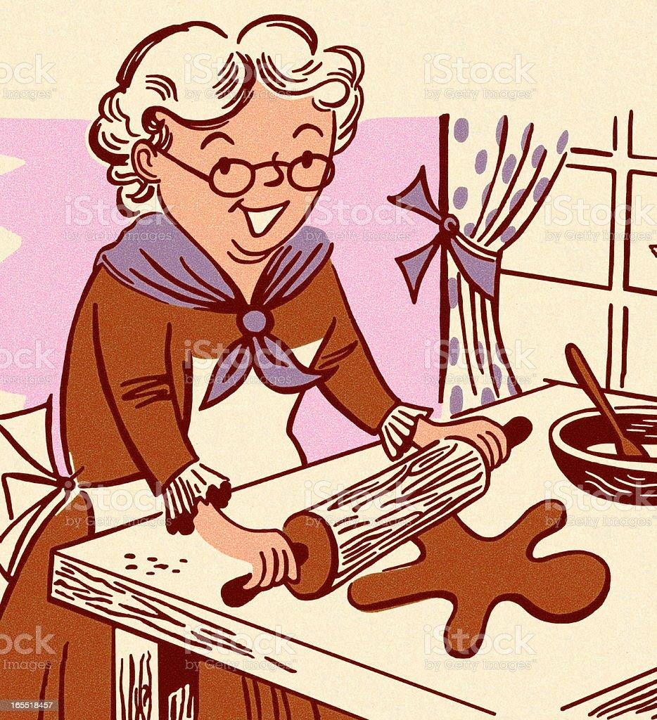 Grandmother Making Gingerbread Men vector art illustration