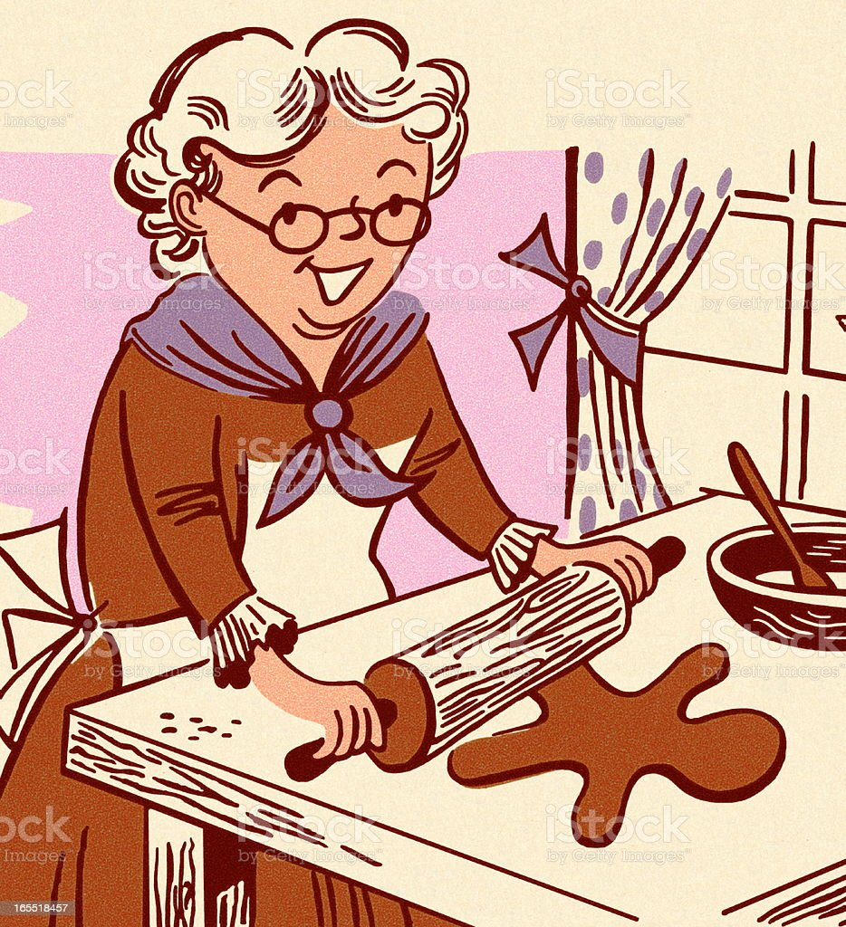 Grandmother Making Gingerbread Men vector art illustration