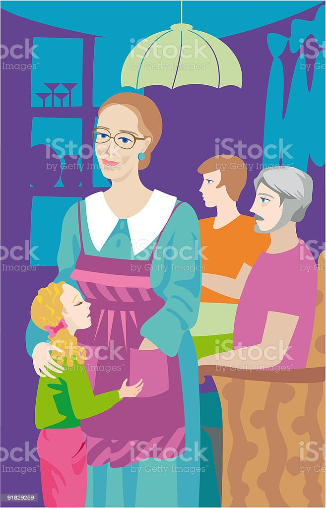 Grandmother with the grand daughter. royalty-free stock vector art