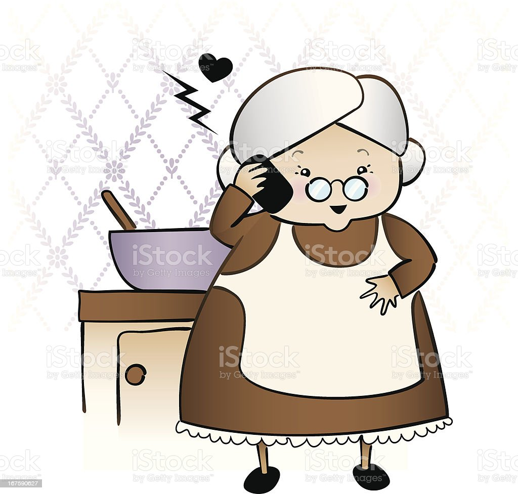 Granny on the phone royalty-free stock vector art