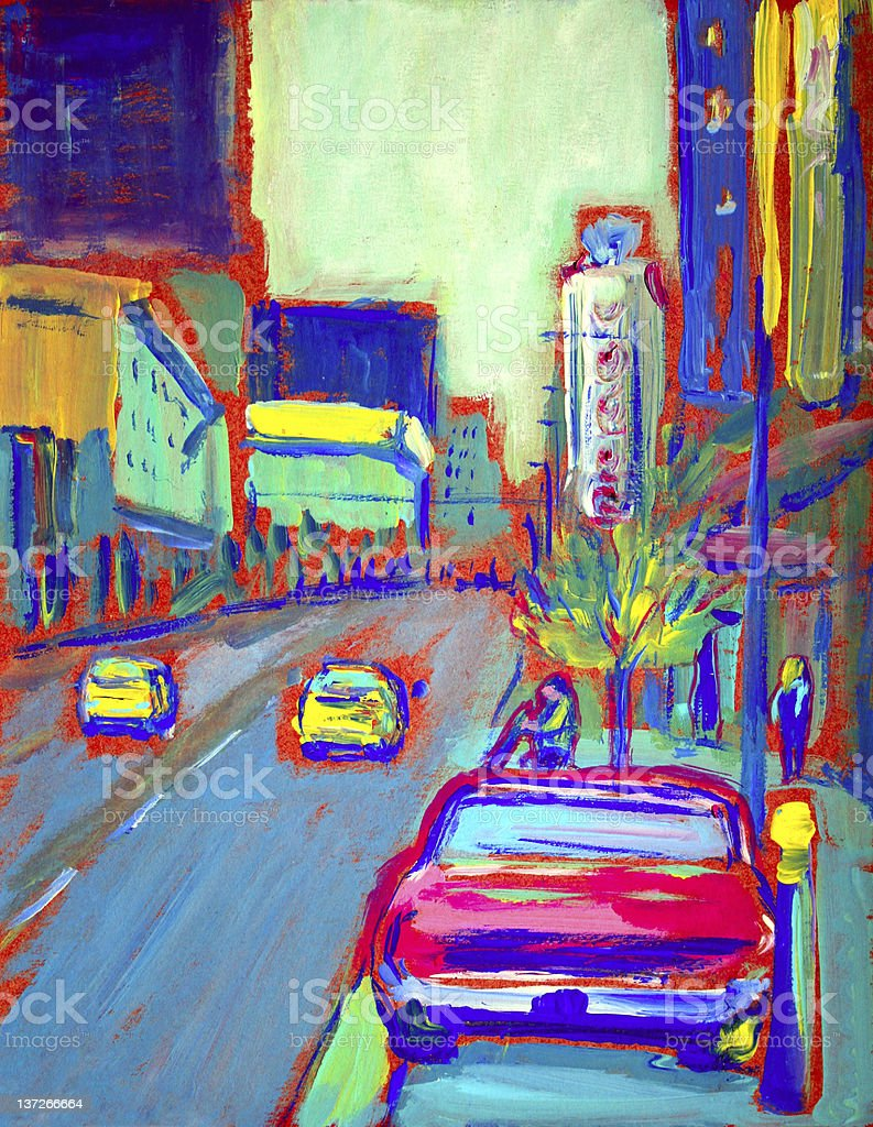 Granville Street in Vancouver royalty-free stock vector art