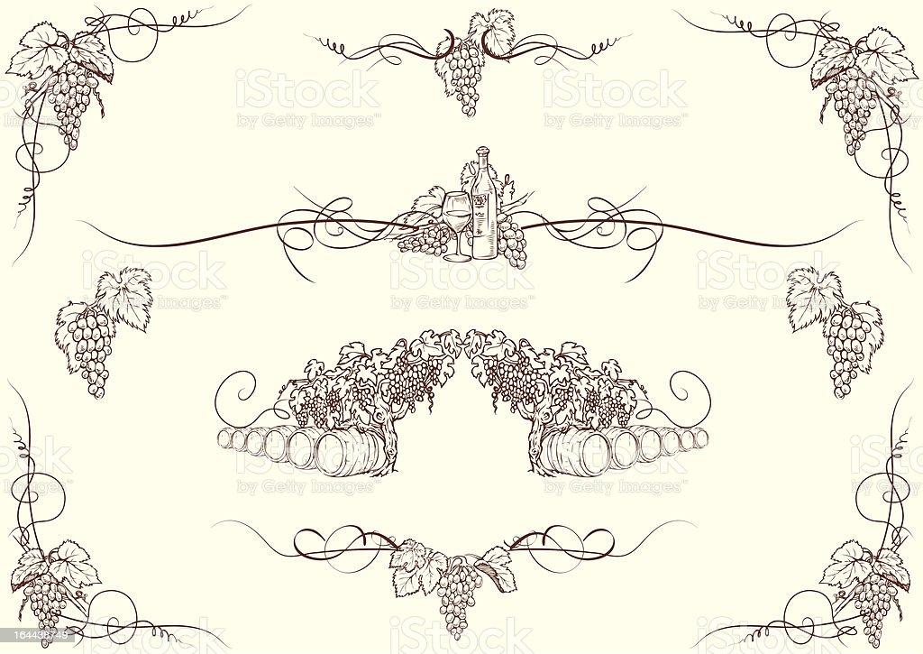 Grape ornaments vector art illustration