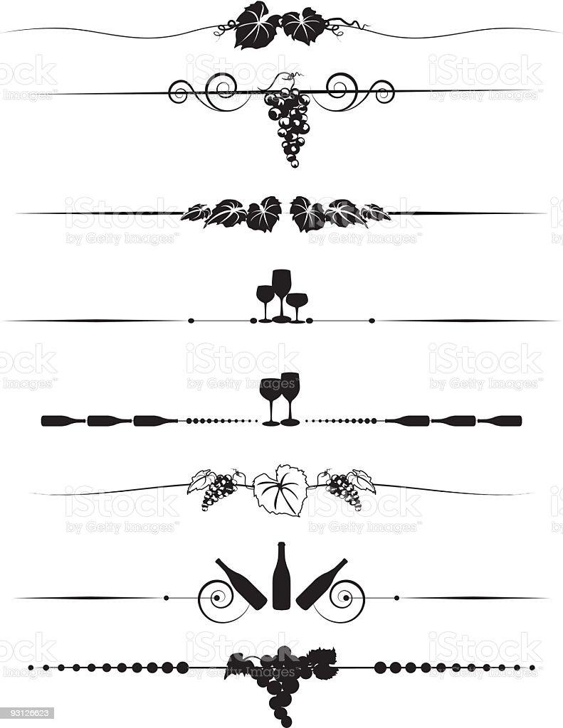 Grapes and Wine Divider Menu-element design Set in black silhouette vector art illustration