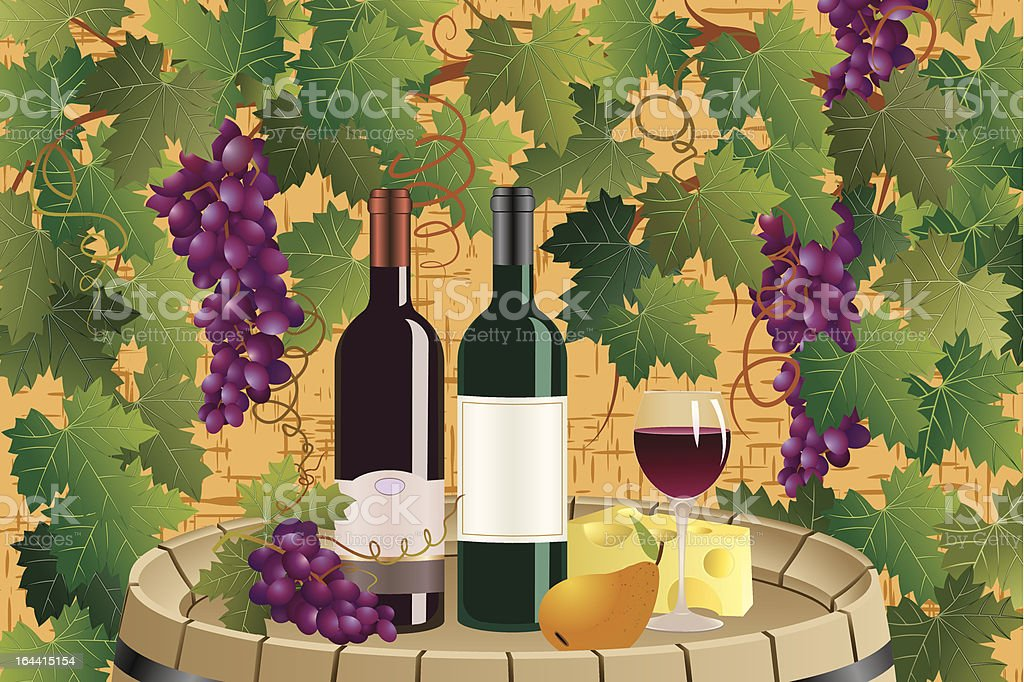 Grapes and wine royalty-free stock vector art