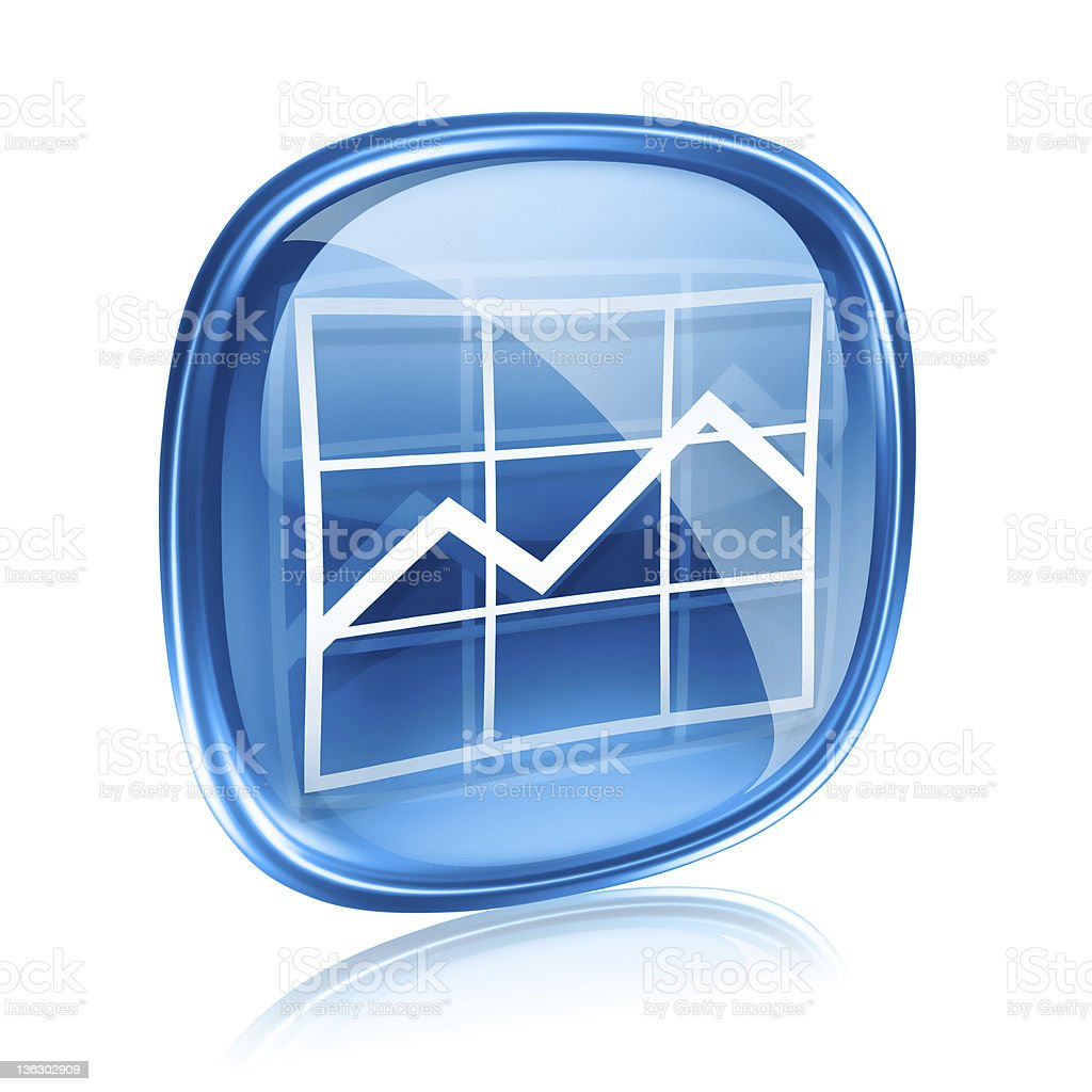 graph icon blue glass, isolated on white background. royalty-free stock vector art