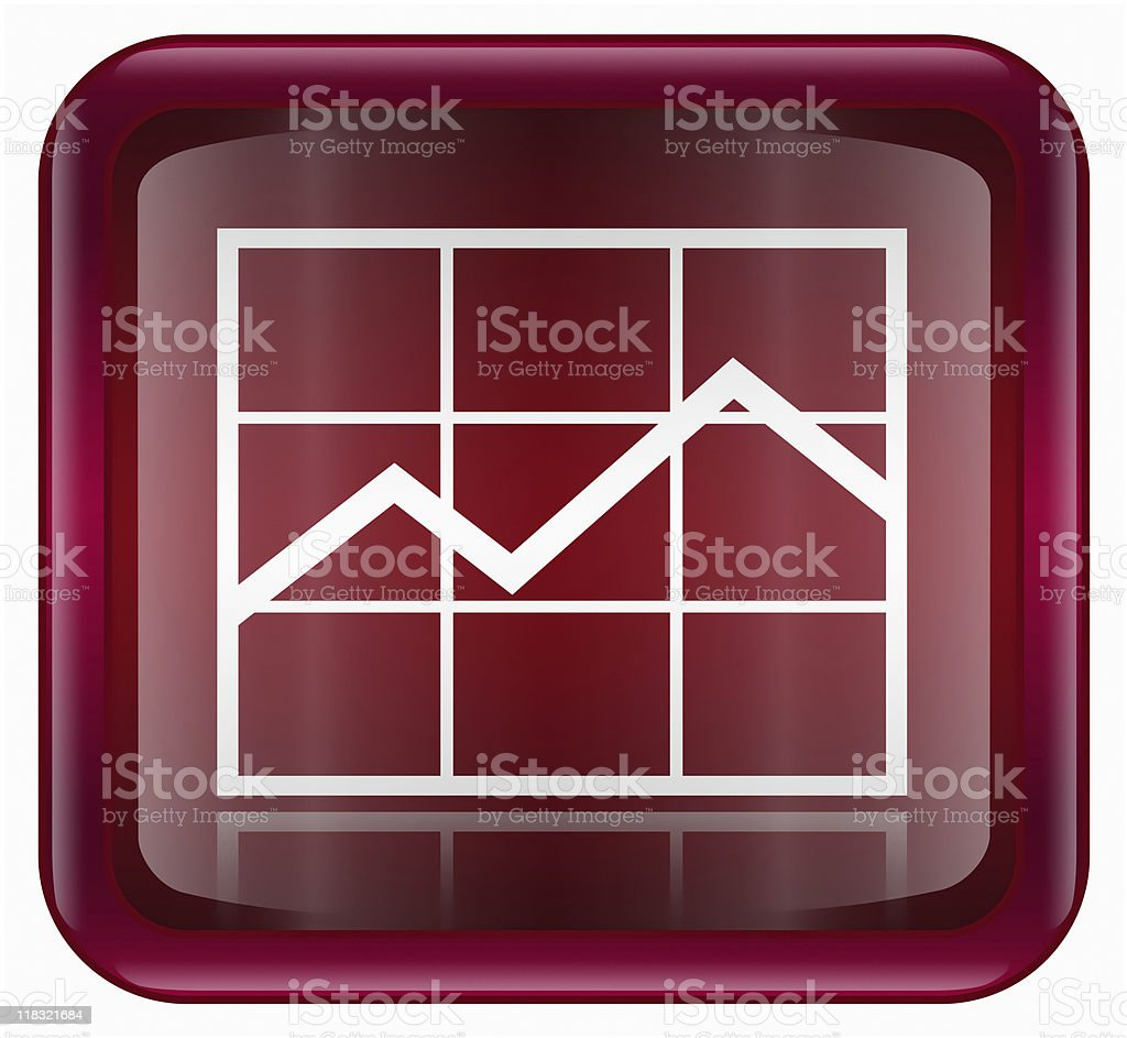 graph icon dark red, isolated on white background. royalty-free stock vector art