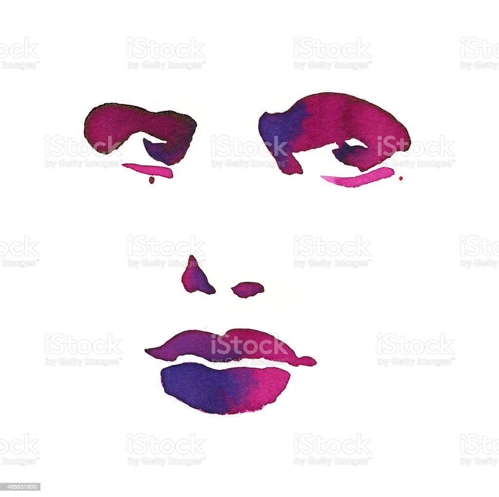 Graphic face painted with aquarelle colors vector art illustration
