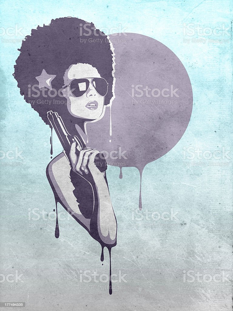 Graphic of a lady with an afro holding a gun royalty-free stock vector art