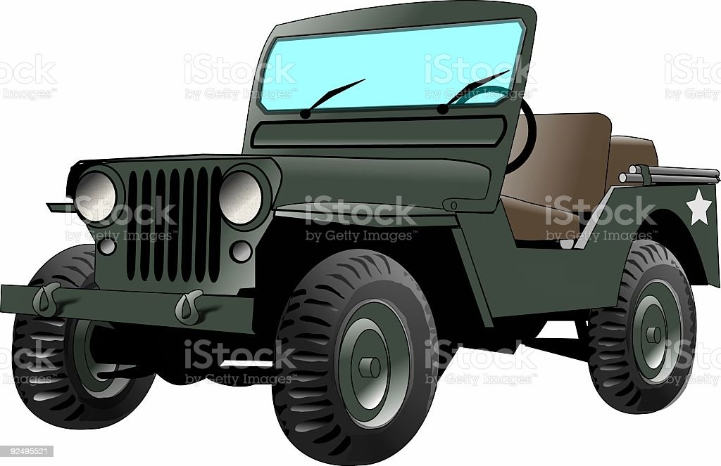 Graphic of army jeep on white background royalty-free stock vector art