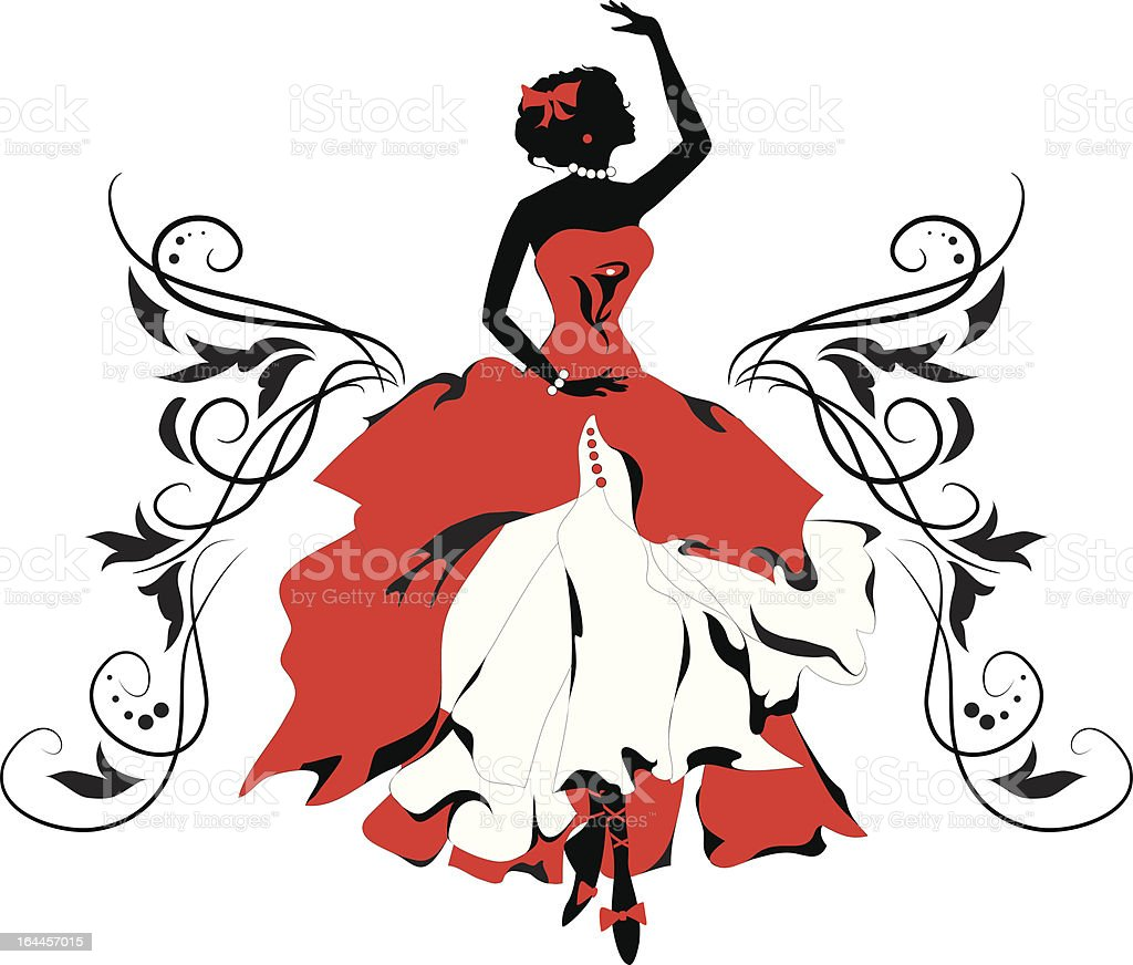 Graphic silhouette of a woman. Isabelle series royalty-free stock vector art