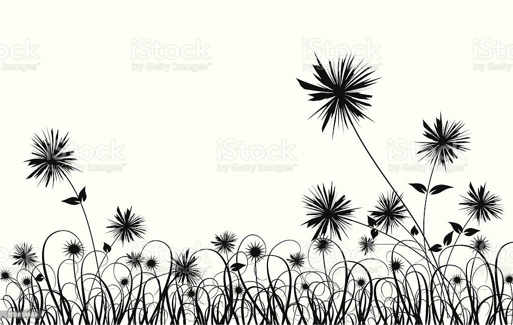 Grass and flower vector art illustration