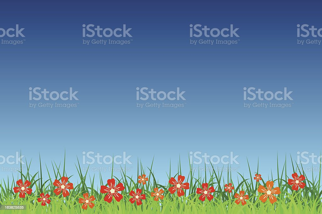 Grass, Flowers, and Sky royalty-free stock vector art