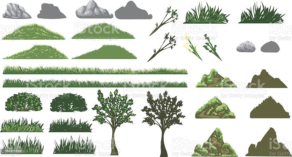 Grass, Tree and Hills Set vector art illustration