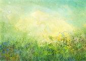grassland, watercolor background