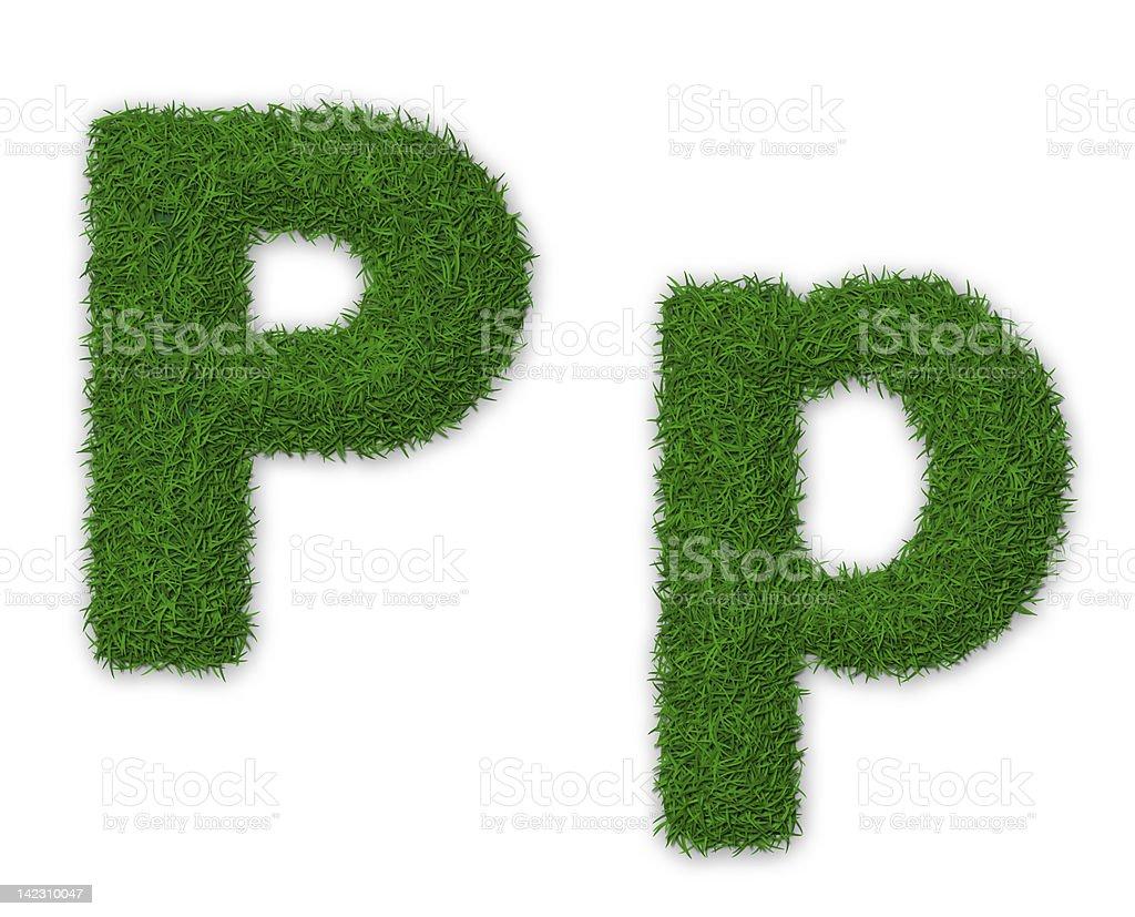 Grassy letter P royalty-free stock vector art
