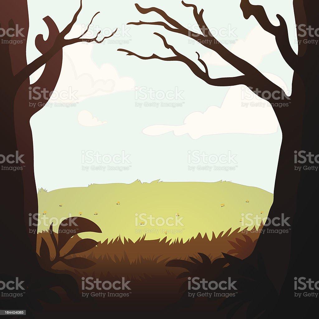 Grassy Meadow vector art illustration