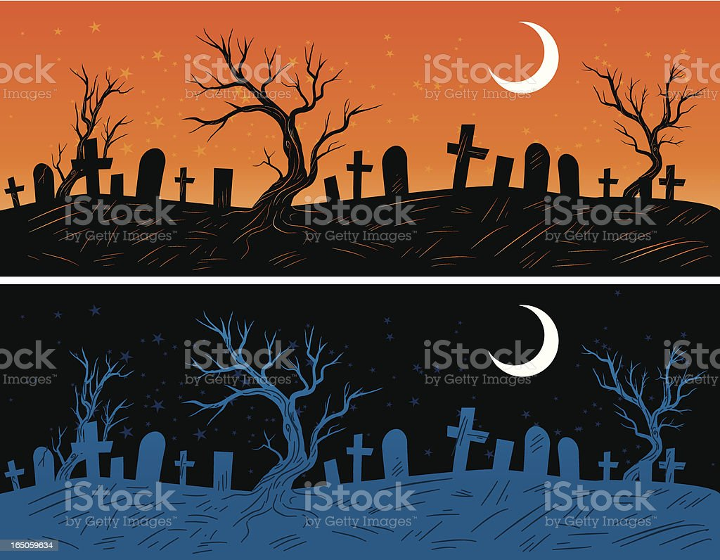 grave yards vector art illustration