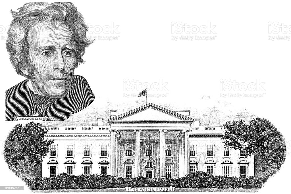Gravure of Andrew Jackson and  White house royalty-free stock vector art