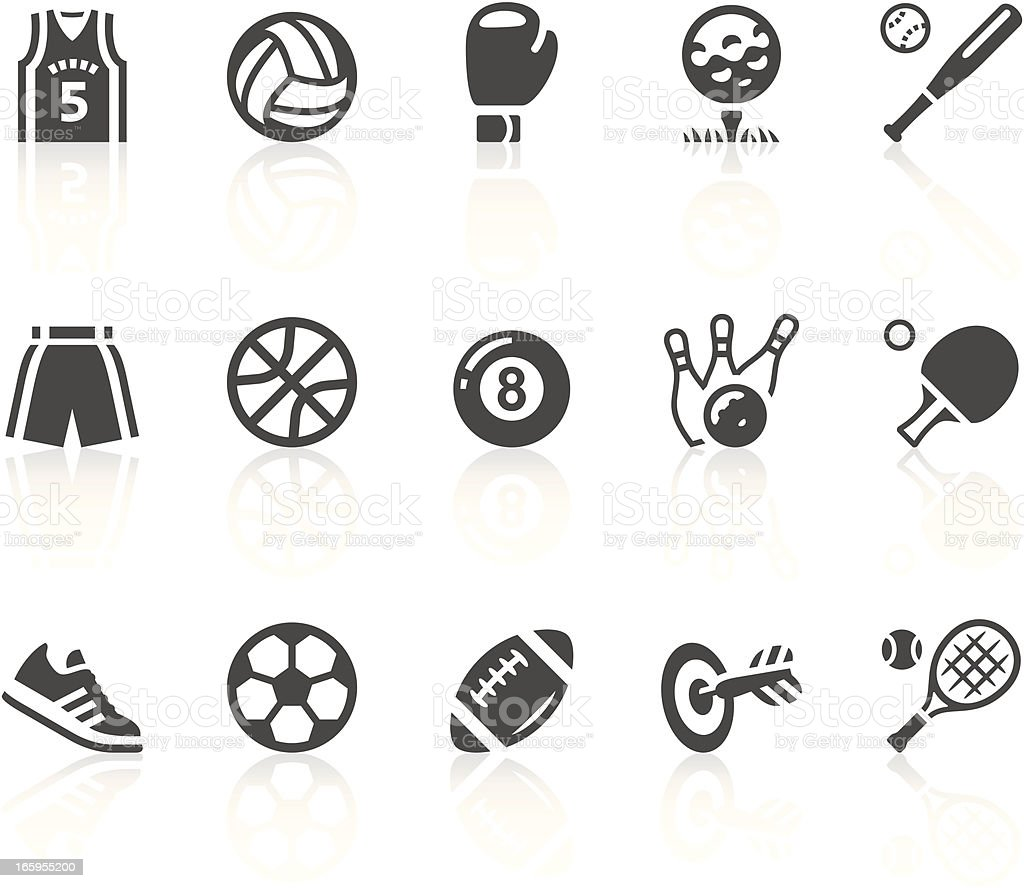 Gray and white sports equipment vector icon set vector art illustration