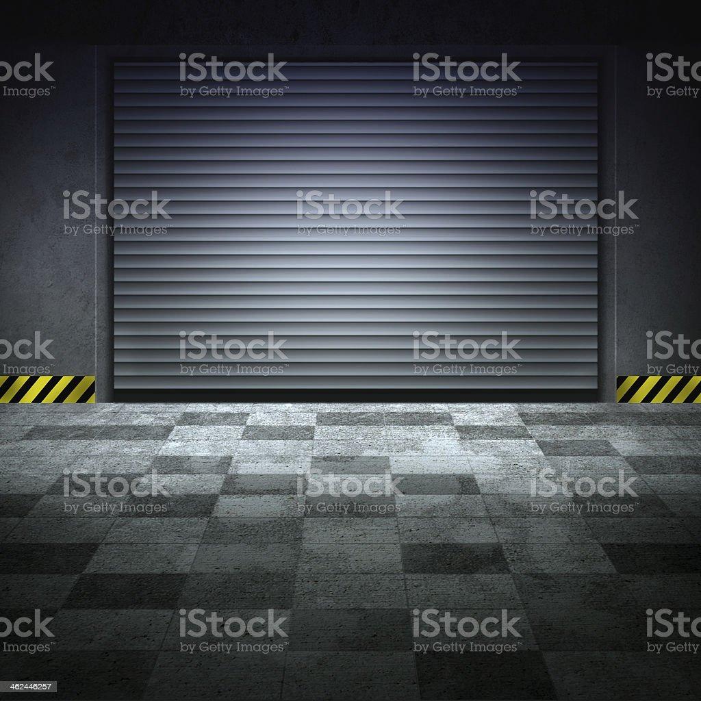 A gray checkerboard floor in a garage vector art illustration