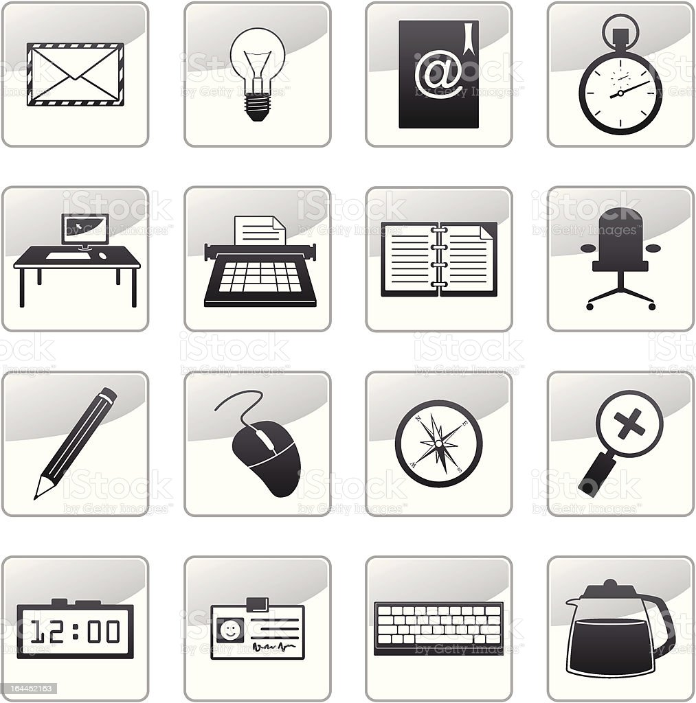 grayscale icons set 3 - office supplies royalty-free stock vector art