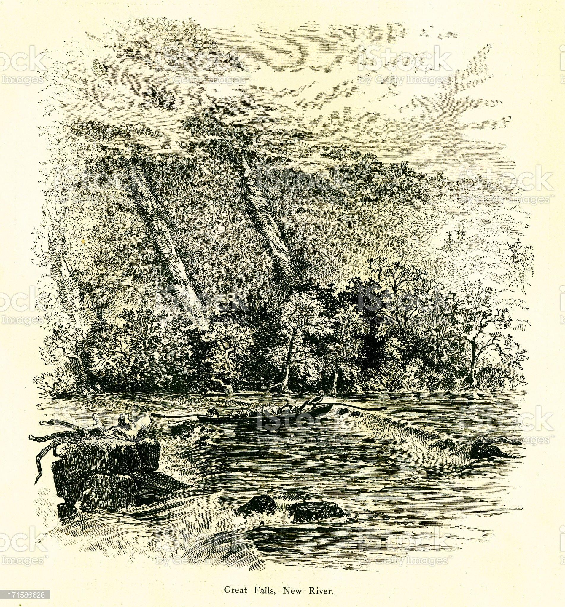 Great Falls on New River, Virginia royalty-free stock vector art
