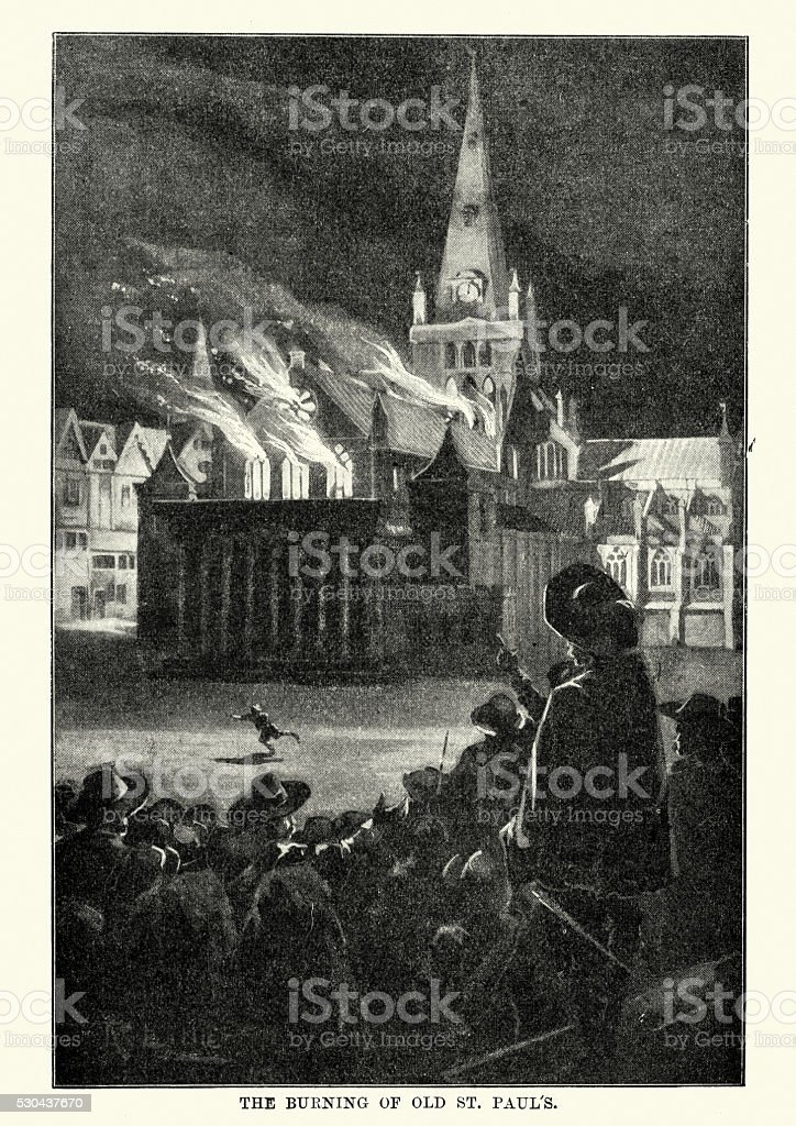 Great Fire of London - Burning of old St Paul's vector art illustration