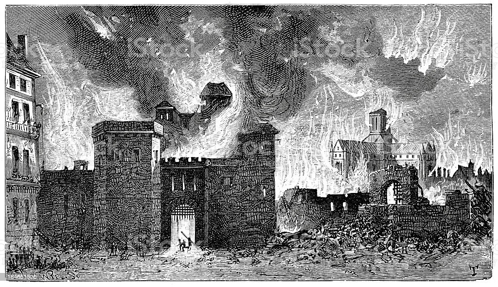 Great Fire of London vector art illustration