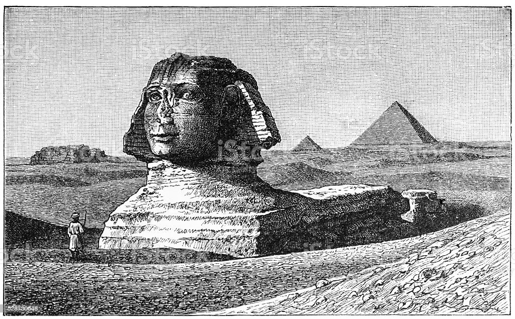 Great Pyramid and Sphinx vector art illustration