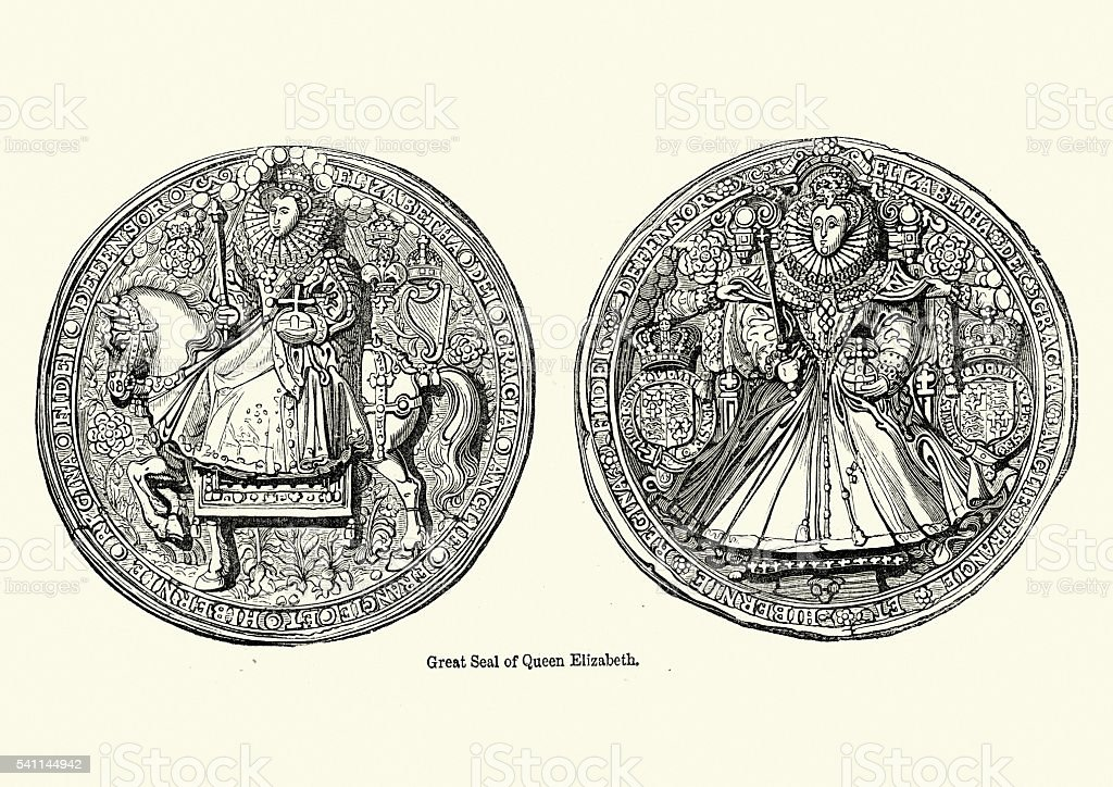 Great Seal of Queen Elizabeth I vector art illustration
