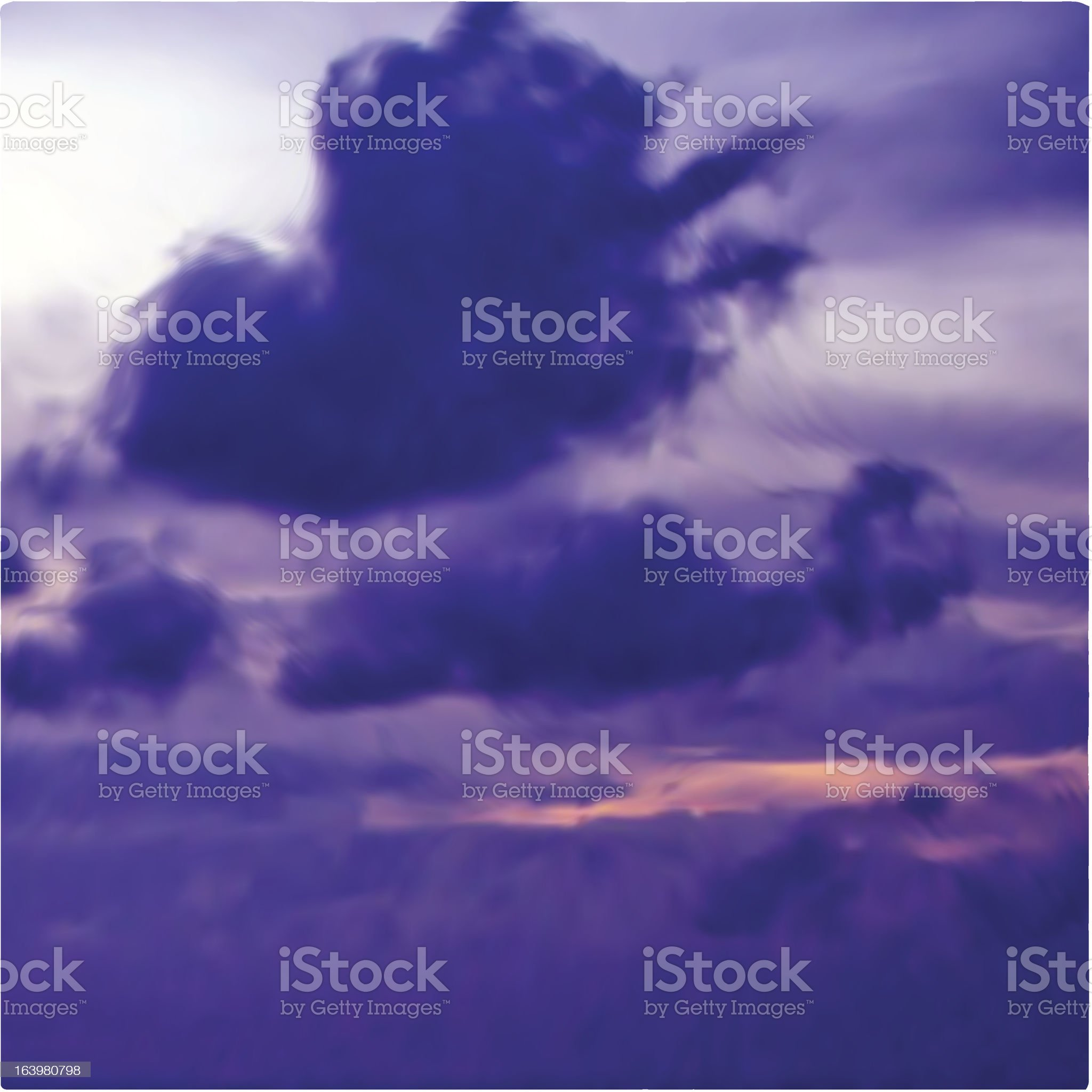 Great violet sunset sky with clouds. Vector royalty-free stock vector art