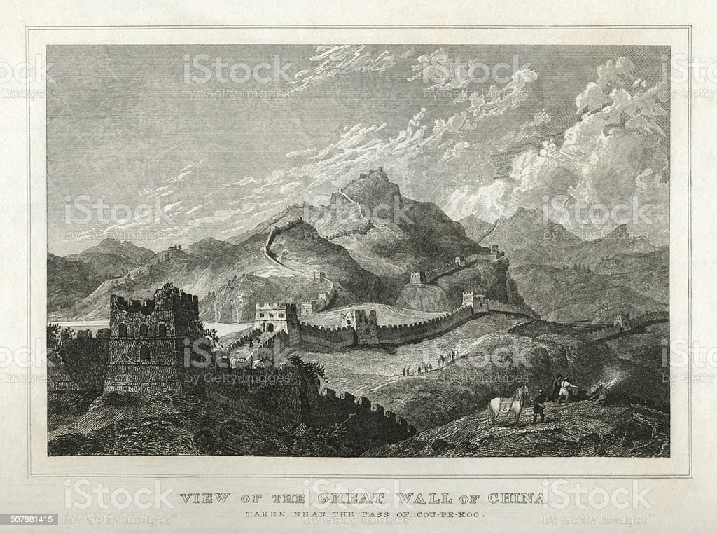 Great Wall of China (early 19th century engraving) vector art illustration