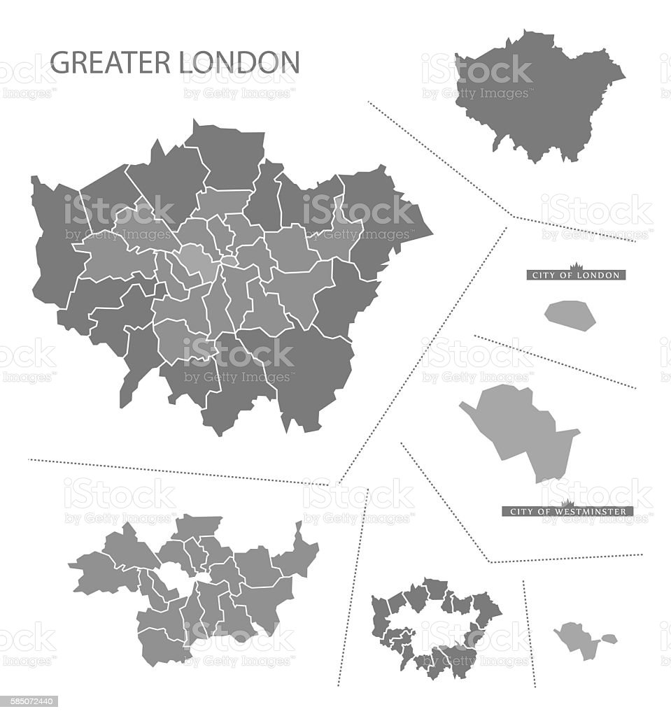Greater London England Map grey vector art illustration