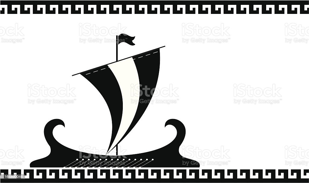 Greece ancient ship silhouette royalty-free stock vector art