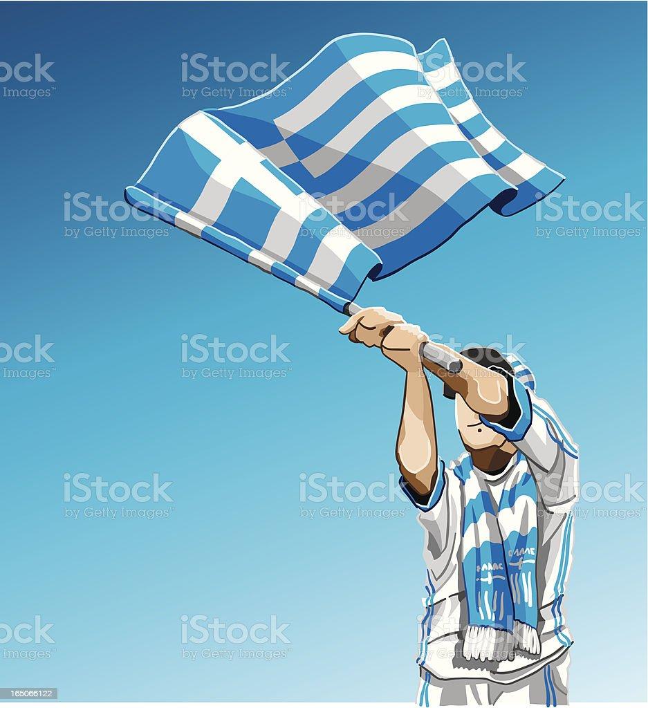 Greece Waving Flag Soccer Fan royalty-free stock vector art