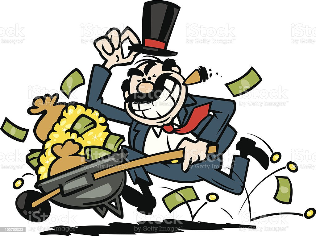 greedy businessman vector art illustration