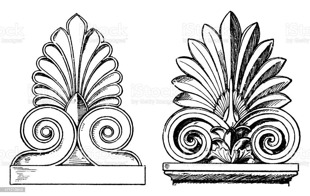 Greek gable end ornaments royalty-free stock vector art