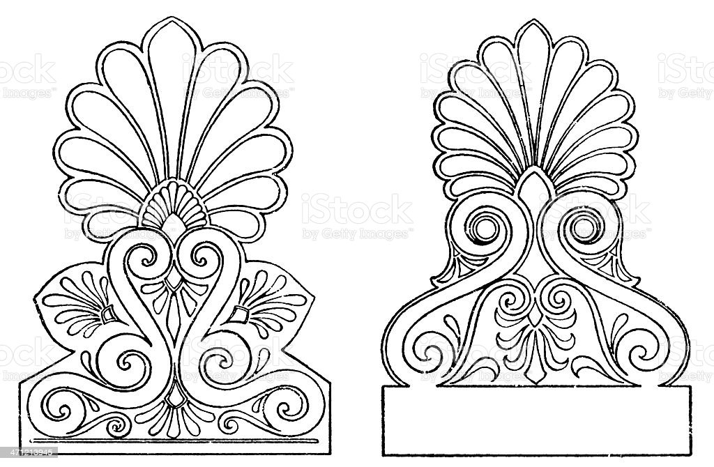 Greek gable end ornaments vector art illustration