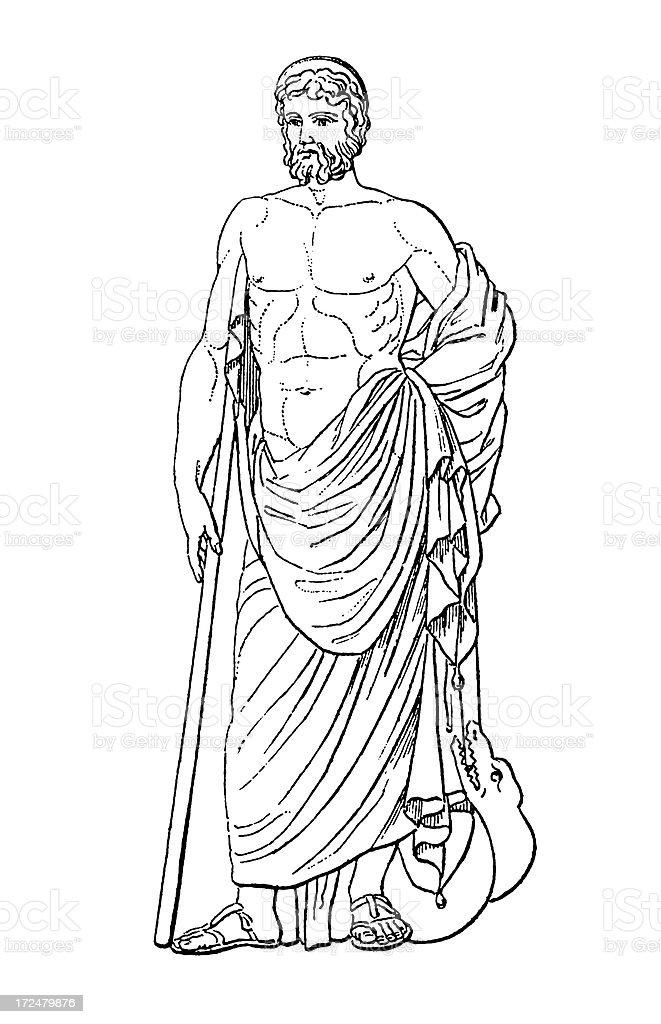 Greek God Asclepius   Antique Historic Illustrations royalty-free stock vector art