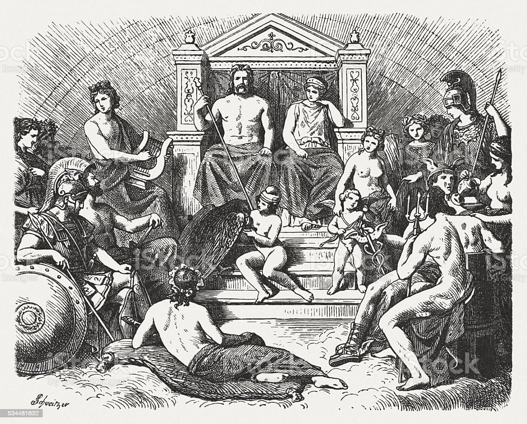Greek gods in the Olymp, Greek mythology, published in 1880 vector art illustration