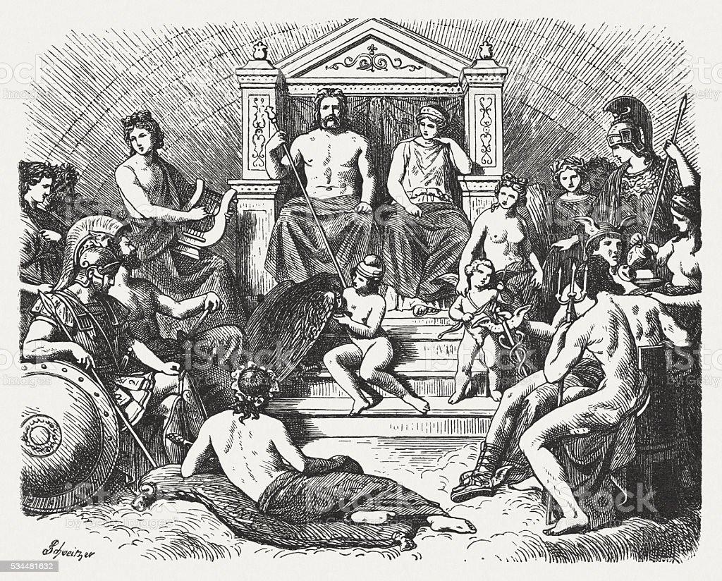 Greek gods in the Olymp, Greek mythology, published in 1880 vector art illustration