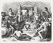 Greek gods in the Olymp, Greek mythology, published in 1880