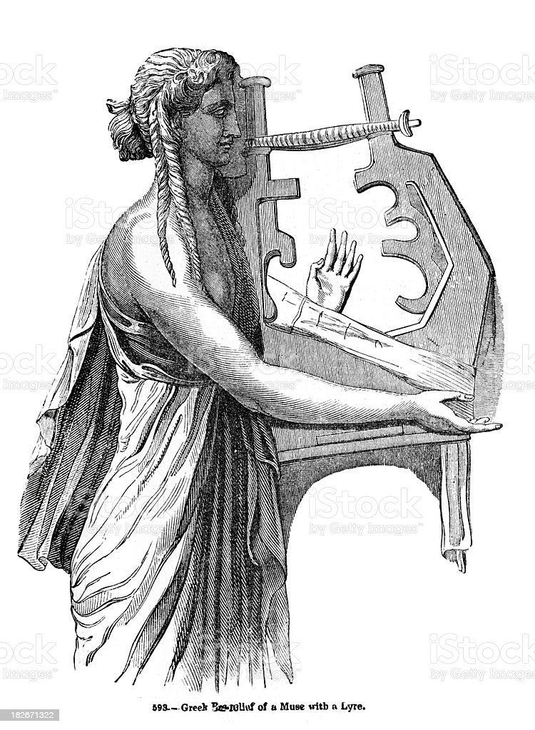 Greek Muse playing a Lyre vector art illustration