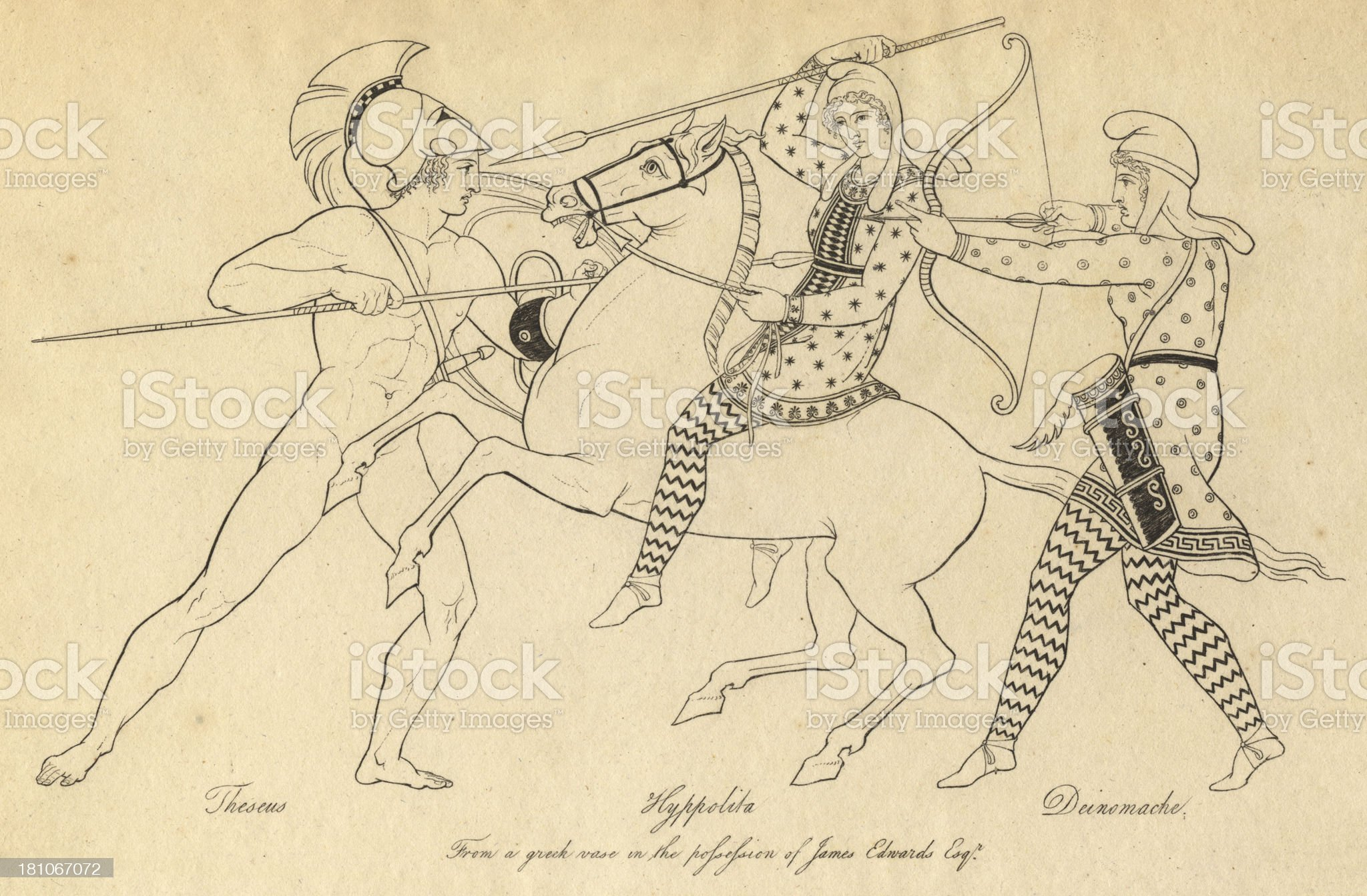 Greek Mythology, Battle Between Theseus, Hyppolyta, and Deinomache royalty-free stock vector art